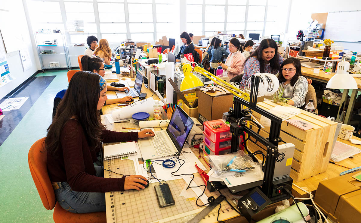 Architecture students at Cal Poly students refine their designs, build virtual reality walk-throughs, and construct scale models of their structures. (Photo by Joe Johnston/Cal Poly)