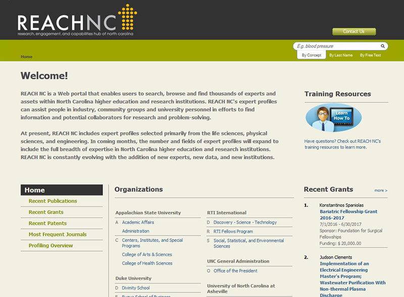 The REACH NC web portal.
