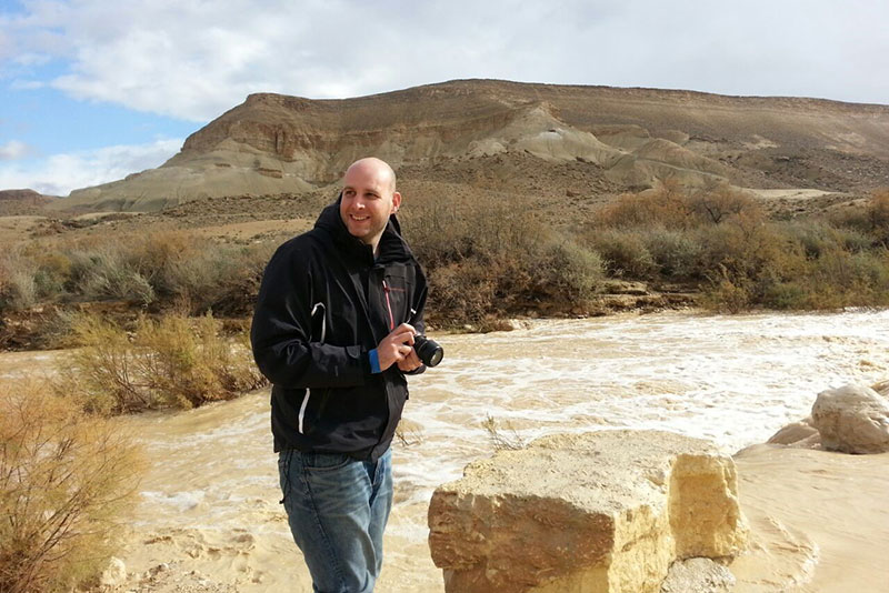 Dr. Itai Weissberg in the Negev, Israel's desert where Ben Gurion University is located.