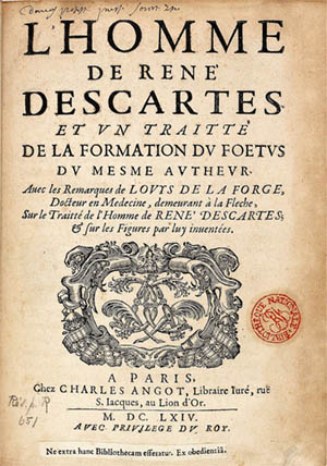 Title page of <em>L'homme </em>by René Descartes (1664)
