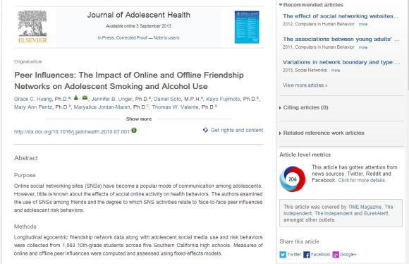 Example of the pilot Altmetric.com donut on a ScienceDirect article from Journal of Adolescent Health.