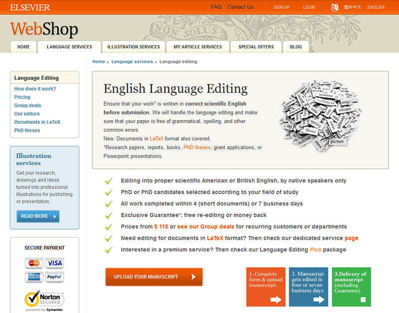 Elsevier's English Language Editing service