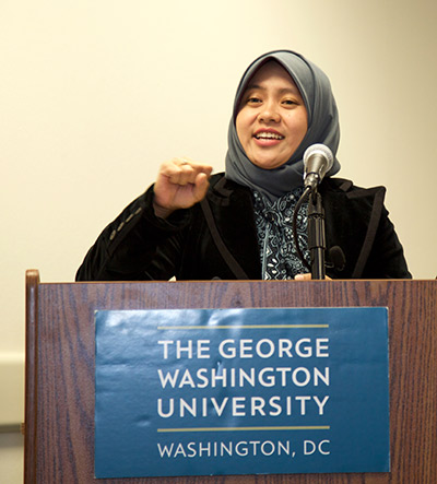 Sri Fatmawati, PhD, speaks on a panel at the Global Women's Institute at George Washington University. She is Assistant Professor and Lecturer in the Laboratory of Natural Product and Chemical Synthesis at Institut Teknologi Sepuluh Nopember in Surabaya, Indonesia.