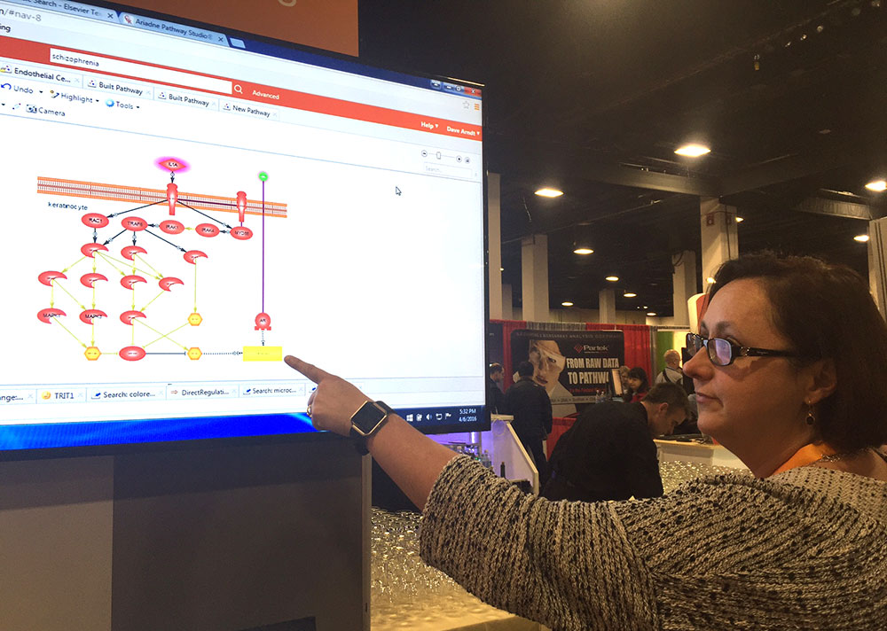 Dr. Jaqui Hodgkinson gives a demo of the disease model collection in Elsevier's Pathway Studio at the 2016 Bio-IT World Conference & Expo in Boston.