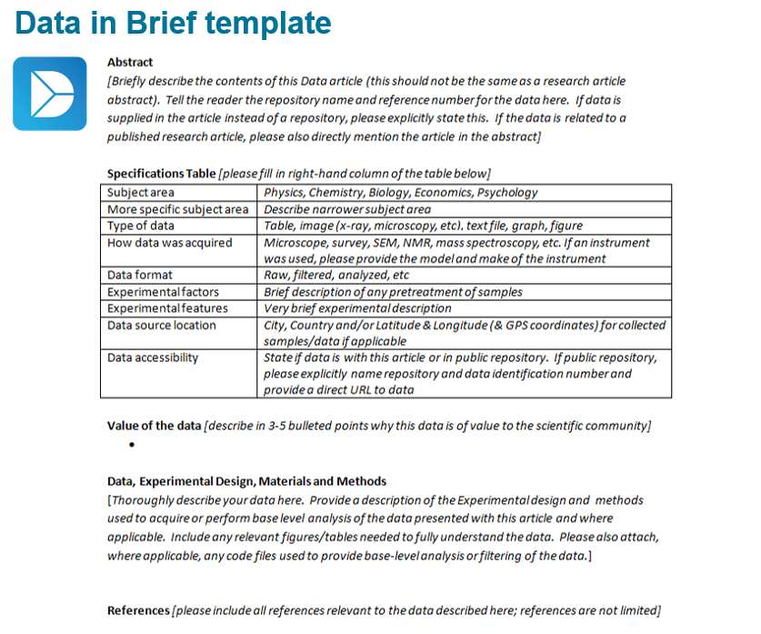 Example of a Data in Brief article template