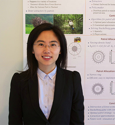 Dr. Fei Fang received her PhD from the Department of Computer Science at the University of Southern California, where she worked with Prof. Milind Tambe in the Teamcore Research group.