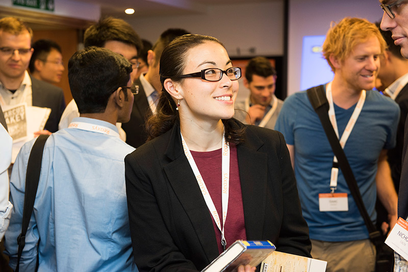 Networking at the annual Reaxys PhD Prize Symposium. This is 2016 finalist Dr. Laura Ackerman, a postdoctoral fellow at Princeton University and new Reaxys Prize Club member. (Photo by Ashley Bingham, A&M Photography, London)