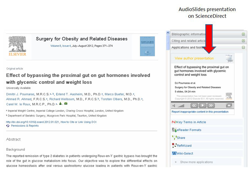 An AudioSlides presentation appears in the right-hand pane of the article on ScienceDirect.