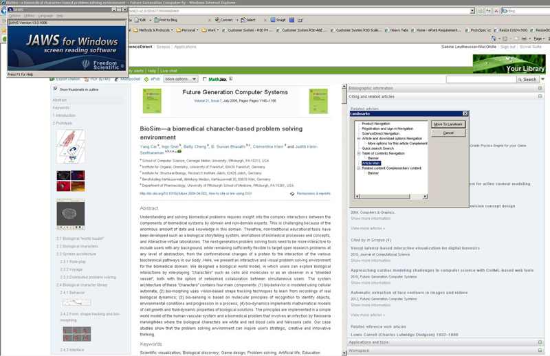 A JAWS screen reader on ScienceDirect