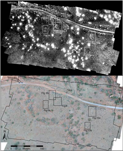 Thermal imagery of Blue J from the 5:18am flight (top) compared to color imagery (bottom). In all thermal images, the modern road, an unimproved dirt track, appears very clearly at the top of the image, as does the tarp used to launch the UAV (in order to minimize dust particles from getting inside the motors). Our two vehicles and team members also appear at the upper left of the images. Because the UAV tends to swing as it adjusts to new waypoints, we collected more oblique images at transect ends than we had anticipated. (Source: J. Casana et al, Journal of Archaeological Science, May 2014)