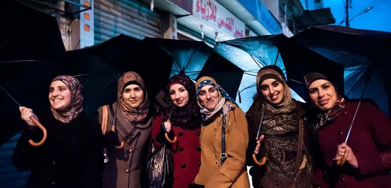The six female Physics MSc students at Birzeit University (from left to right): Waad Awad, Doa Hawamdeh, Suhad Daraghmeh, Worood Shadeed, Tasneem Saleem and Wesal Halaiqa. (Photo by Jack Owen)