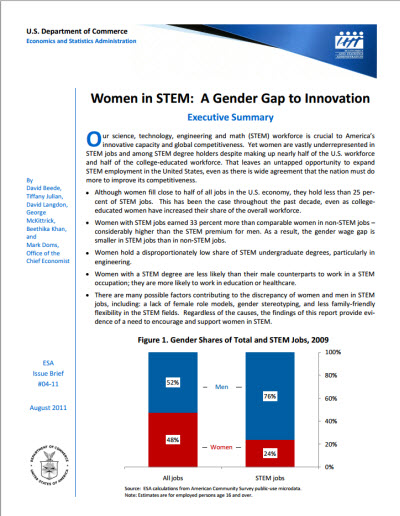 Women in STEM: A Gender Gap to Innovation (US Department of Commerce)