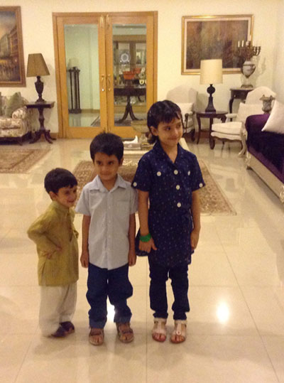 Bushra Jamil's children in a museum (left to right): Muhammad Hassaan Sarmad, Muhammad Talha Hassan and Fatima Siraj