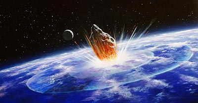 Artistic rendition of a comet colliding with Earth (Credit: NASA)
