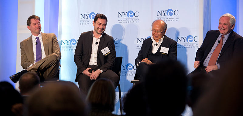 <strong>Panelists at Digital Health 2014 in New York City talked about healthcare needs and opportunities across China, Europe and the US. </strong>Left to right: David Whitlinger of NYeHealth; Julien Venne of the European Connected Health Alliance; Millard Chiang of the China Connected Health Alliance; and moderator Brian O'Connor, also of the European Connected Health Alliance. (Photo by Beatrice de Gea)