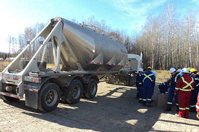 A truck carrying proppant to a fracking site in Fox Creek, Alberta (Photo by Mike Stephenson)