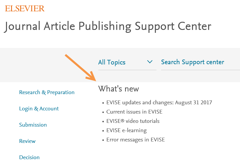 Publishing support center screenshot