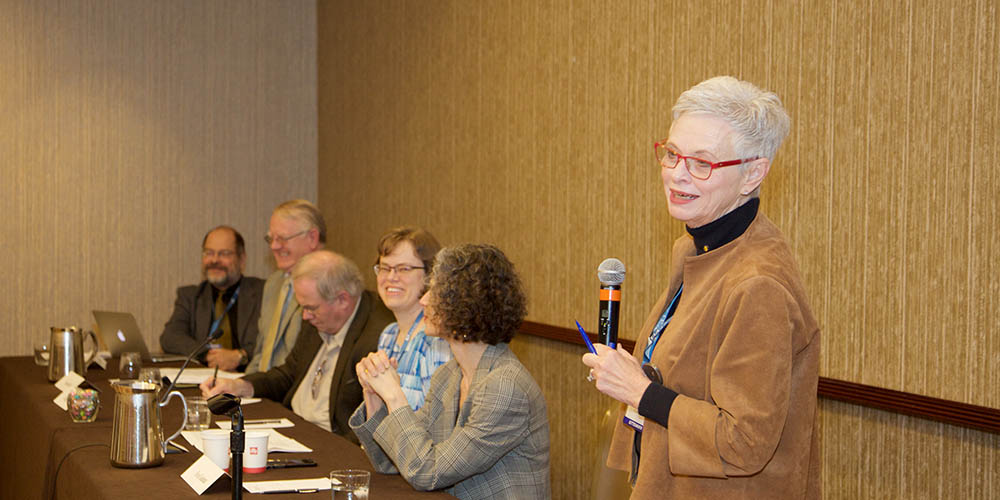 Co-organizer Dr. Marie Thursby, Regents' Professor Emeritus at the Georgia Institute of Technology, moderates a panel with speakers (left to right) Dr. John L. King, William Warner Bishop Collegiate Professor of Information, University of Michigan; Dr. Kenneth Janda, Professor and Dean, School of Physical Sciences, UC Irvine; Dr. Gregory Petsko, Arthur J. Mahon Professor of Neurology and Neuroscience, Weill Cornell Medical College; Dr. Amy Barger, Vilas Distinguished Achievement Professor of Astronomy, University of Wisconsin-Madison; and Dr. Eva Guinan, Professor, Harvard Medical School, Director of Translational Research, Radiation Oncology, Dana-Farber Cancer Institute.