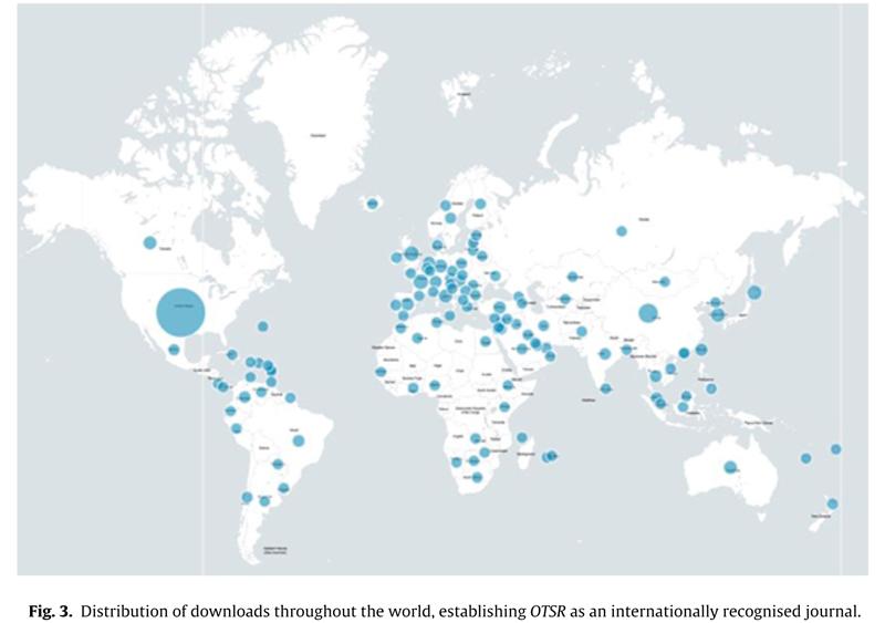 Fig. 3. Répartition des téléchargements dans le monde, montrant l'assise internationale d'OTSR.