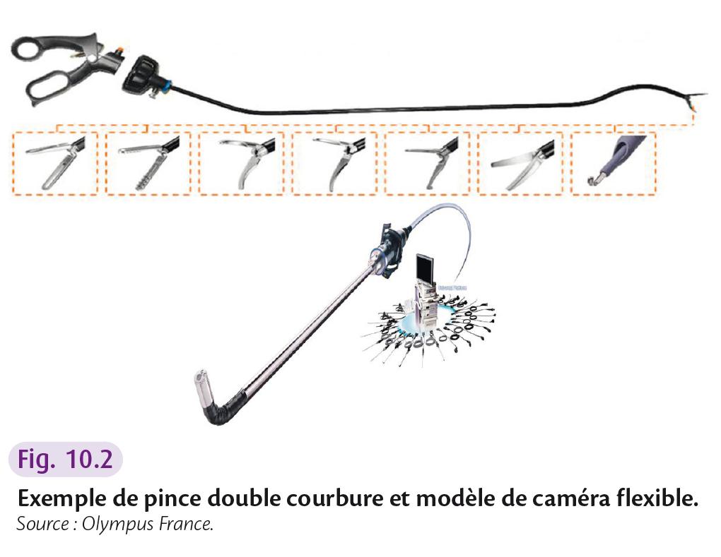 Exemple de pince double courbure et modèle de caméra flexible.