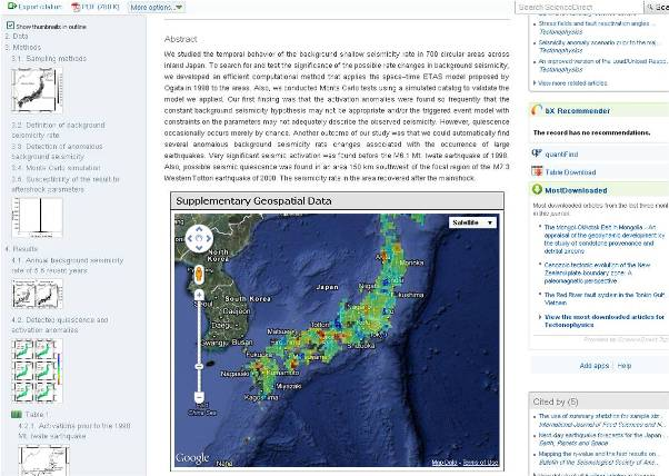 Figure 3: GoogleMaps in ScienceDirect.