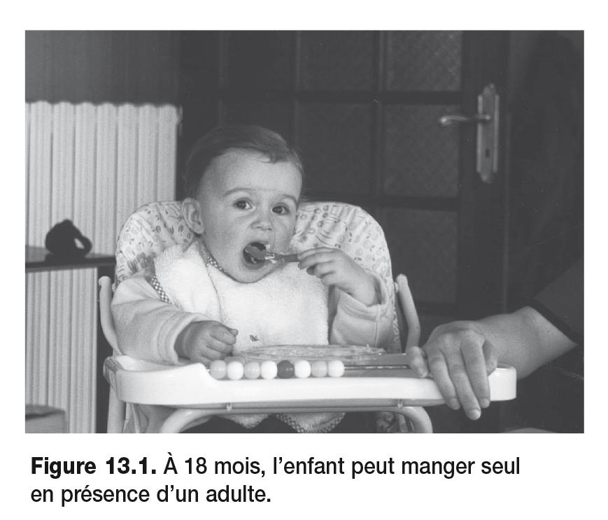 Figure 13.1 . À 18 mois, l'enfant peut manger seul en présence d'un adulte.