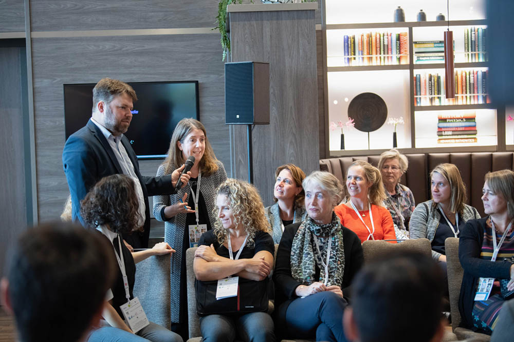 Elsevier CEO Kumsal Bayazit answers questions at the Gender Summit Europe in Amsterdam.