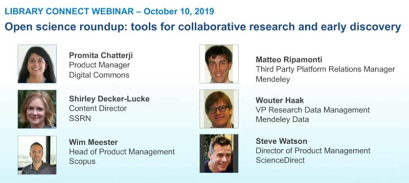 "Listen to a recording of <a target=""_blank"" href=""https://libraryconnect.elsevier.com/library-connect-webinars"">Open science roundup: tools for collaborative research and early discovery</a>."