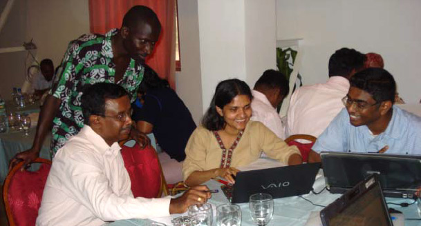 Researchers from Sri Lanka at an AuthorAID workshop. (Photo by Barbara Gastel)