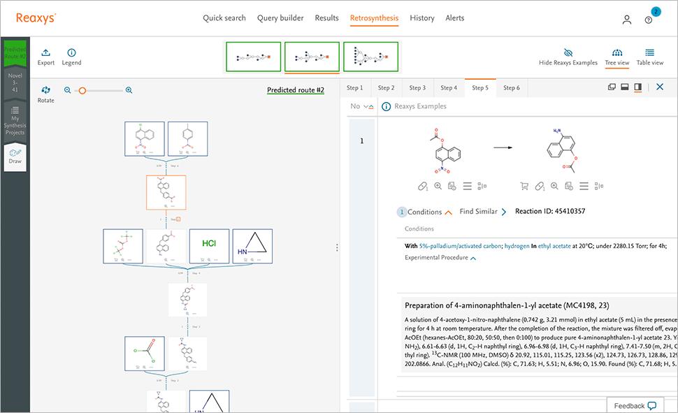 Predictive retrosynthesis screenshot