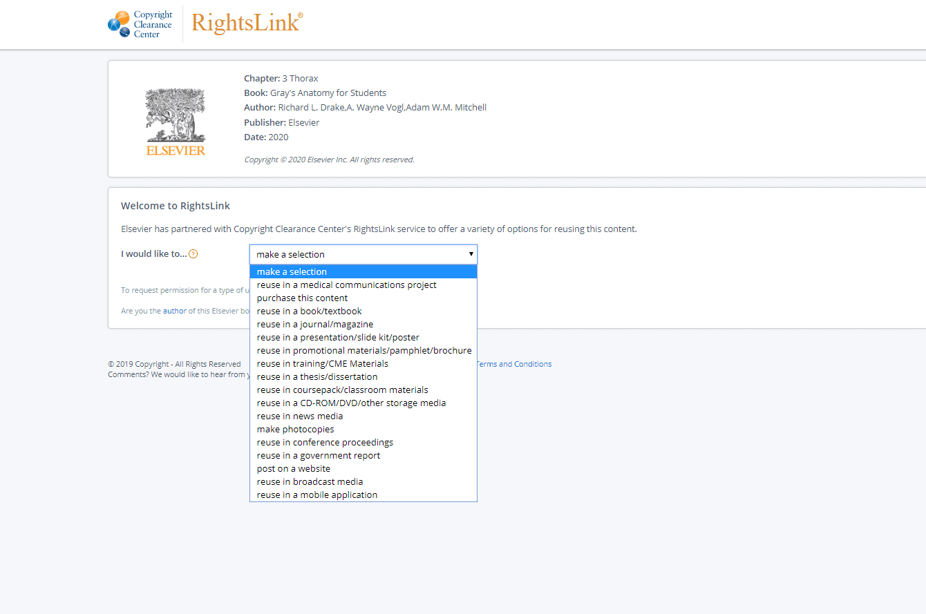 screenshot RightsLink