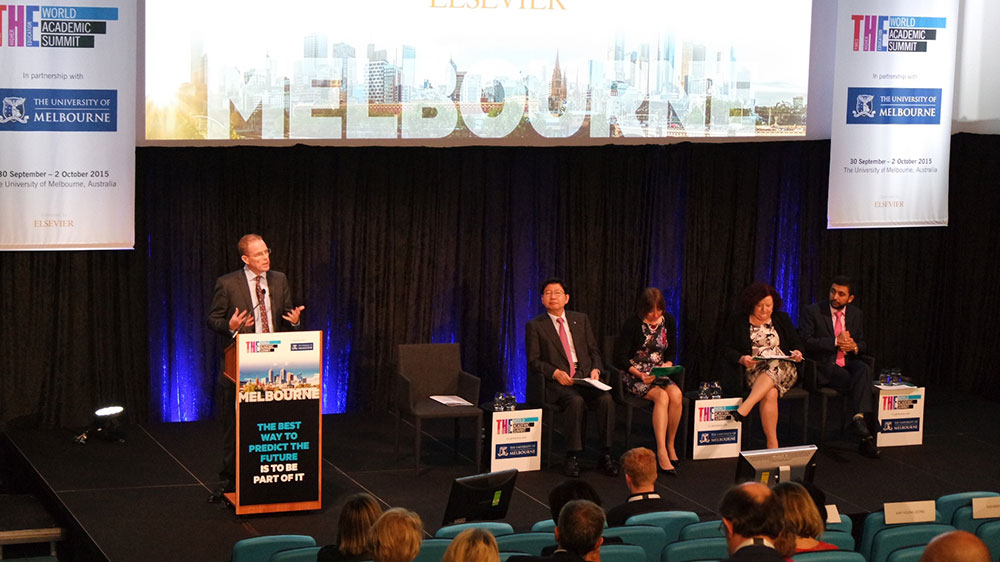 Nick Fowler (left) moderates a panel discussion on international collaboration at the Times Higher Education World Academic Summit 2015 in Melbourne, Australia, October 2. The panelists (left to right) are Kap-Young  Jeong, Shearer West, Margaret Sheil and Hassan Rashid Al-Derham.