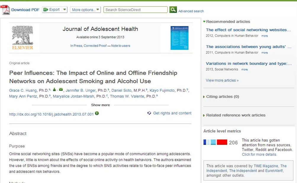 Example of the pilot bar chart altmetrics image on the same ScienceDirect article from Journal of Adolescent Health.