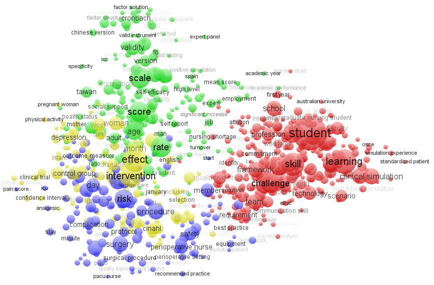 Figure 1 - Journal term co-occurrence cluster similarity map for a group of six selected Nursing journals from 2009-2012. Source: Scopus.