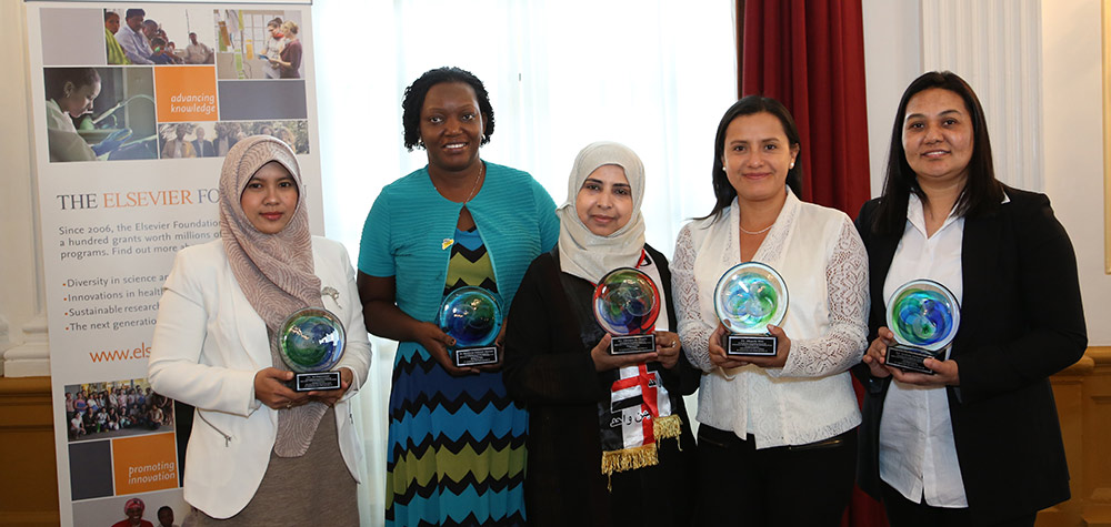 The winners of the 2016 Elsevier Foundation Award for Women in Science in the Developing World (left to right): Sri Fatmawati, PhD (Indonesia), Etheldreda Nakimuli‐Mpungu, PhD (Uganda), Magaly Blas, PhD (Peru), Ghanya Naji Mohammed Al-Naqeb, PhD (Yemen), and Sushila Maharjan, PhD (Nepal) — Photos by Alison Bert