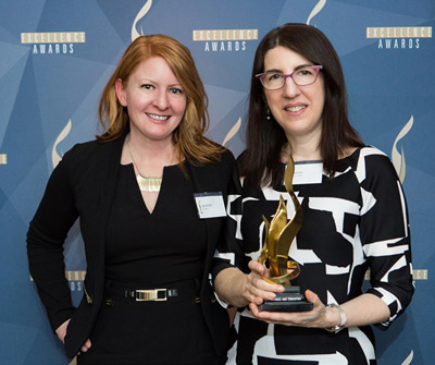 Angelina Ward, Elsevier's Director of Social Media & Digital Communications, and Alison Bert, Editor-in-Chief of Elsevier Connect, accept the North American Excellence Award for Science & Education.