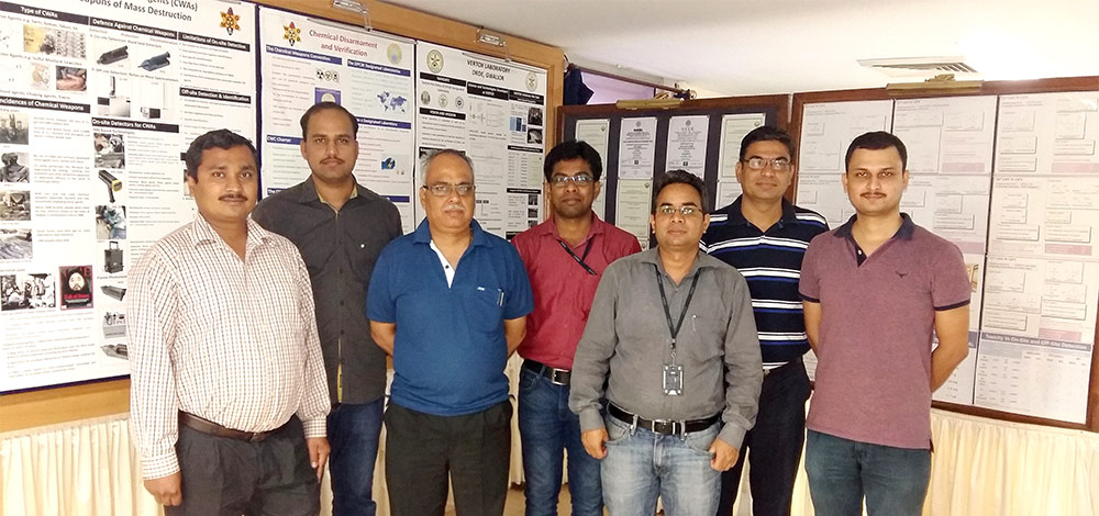 Members of the Vertox Laboratory, the group that did the work. From left to right: Ajay Kumar Purohit, Raghavender Goud D, DK Dubey, PhD, Kanchan Sinha Roy, Vijay Tak, Deepak Pardasani, PhD, and Varoon Singh.
