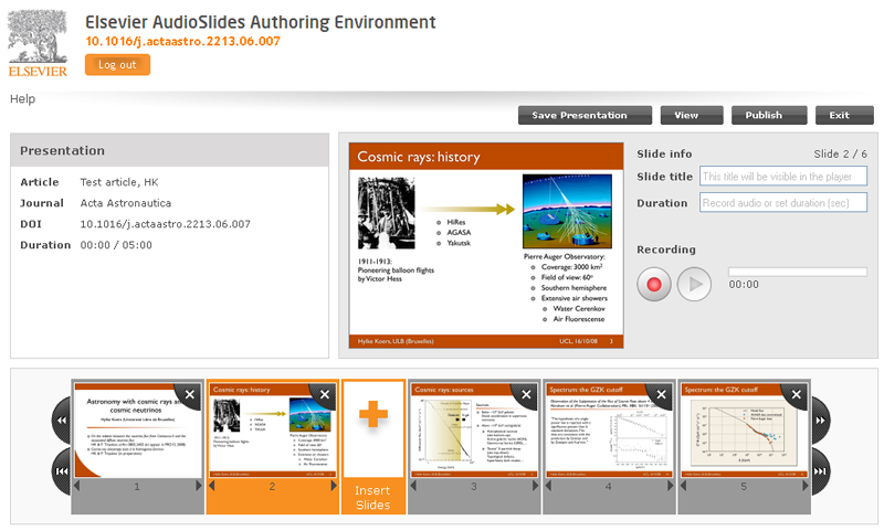Authors can make their own AudioSlides presentations using a website Elsevier has developed for the project.