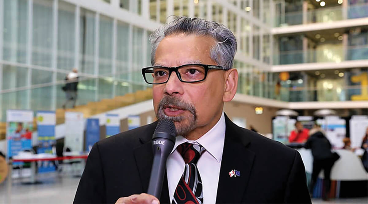 Dr.  B. Mario Pinto, President of the Natural Sciences and Engineering Research Council of Canada, is co-organizing the Gender Summit in Montreal in November 2017. Here, he is being interviewed for an upcoming Elsevier video. (Photo by Alison Bert)