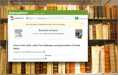 ScienceDirect is Elsevier' full-text database of 2,200+ peer-reviewed journals, 900 serials and 25,000 books.