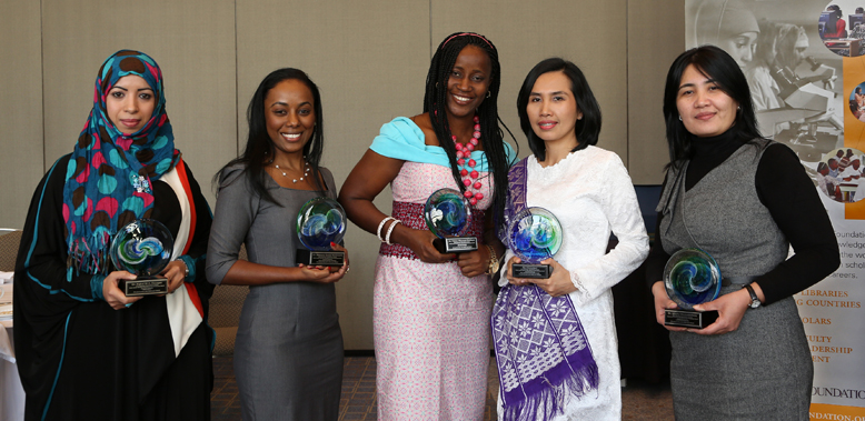 Winners of the 2014 Elsevier Foundation Awards for Early Career Women Scientists in Developing Countries: (left to right) Dr. Eqbal Mohammed Abdu Dauqan (Biochemistry - Yemen), Dr. Simone Ann Marie Badal McCreath (Biochemistry - Jamaica), Dr. Taiwo Olayemi Elufioye (Pharmacology - Nigeria), Dr. Leni Ritmaleni (Medicinal Chemistry - Indonesia) and Dr. Nilufar Mamadalieva (Biochemistry - Uzbekistan). Photo by Alison Bert