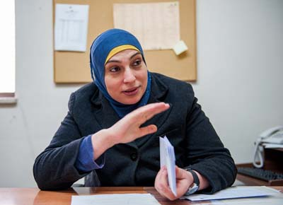 Wafaa Khater, PhD, chairperson of the Physics Department at Birzeit University. Her story of success is a source of inspiration for young Palestinian physicists. (Photo by Jack Owen)