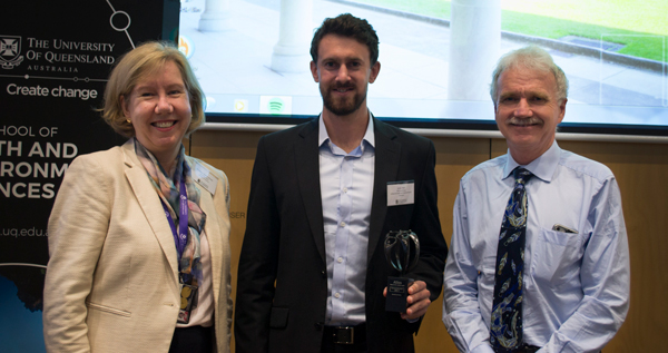 Professor Melissa Brown (Executive Dean, Faculty of Science), James Allan (University of Queensland School of Earth and Environmental Sciences, Australia) and Professor Aidan Byrne (Provost for the University of Queensland) at the Atlas Award Ceremony on May 25 at the University of Queensland