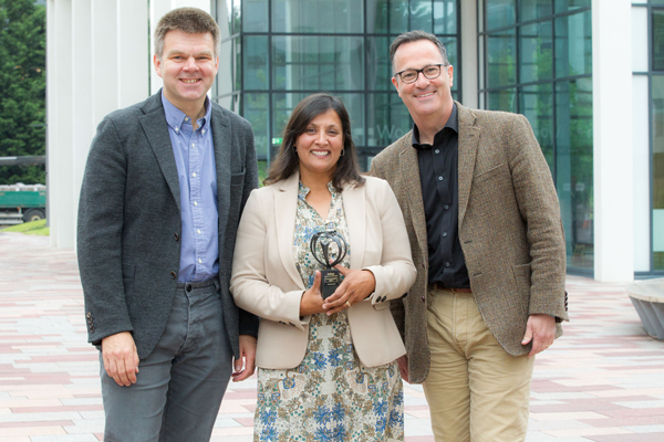 Professor Cam Donaldson, Vice-Principal and Pro Vice-Chancellor Research at Glasgow Caledonian University (GCU), Professor Tahseen Jafry, and Professor Ole Pahl, Associate Dean Research, School of Engineering and Built Environment at GCU