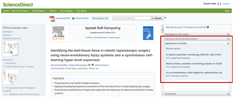 The Article Recommender generates a list of related articles on ScienceDirect.