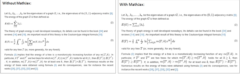 Article excerpt without and with MathJax