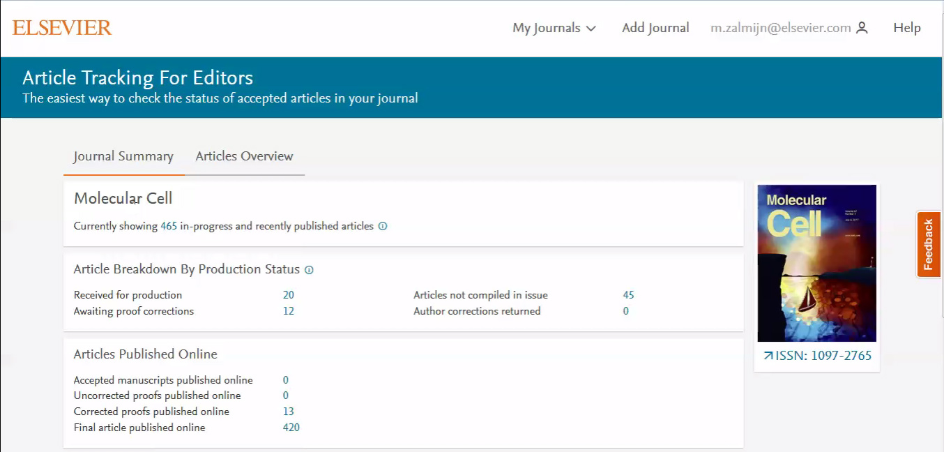 Want to track articles in production on your journal?