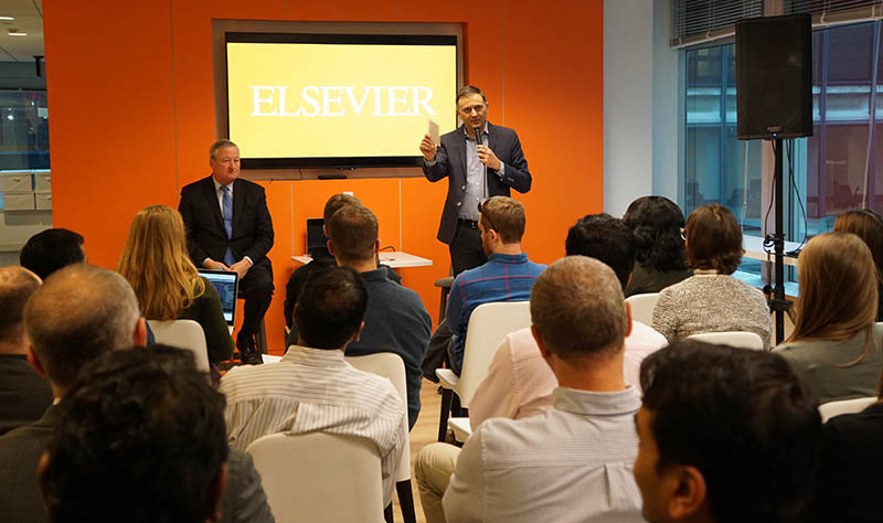Jeff Keating, Elsevier's Senior VP of Engineering, introduces the mayor of Philadelphia, Jim Kenney.