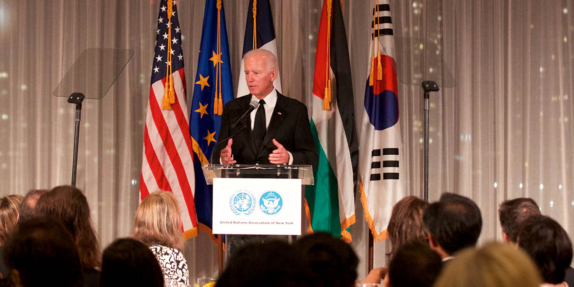 Former Vice President Joe Biden accepts the Humanitarian of the Year Award from the United Nations Association of New York (Photo by Alison Bert)