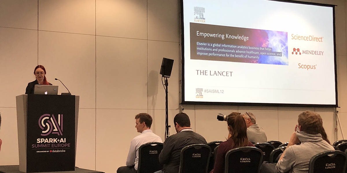 Anna Bladzich, Senior Data Engineer at Elsevier, presents at the Spark+AI Summit in London. (Photos by Annelies van Dam)